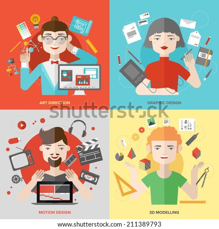 Flat design of creative people design occupations, art direction employment, 3D modeling artist job, motion graphic designer profession. Modern style vector illustration concept.   - stock vector