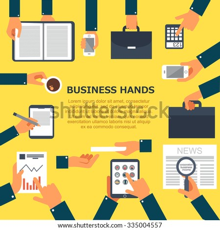 Flat design of hand icons set. business hands. Business concept of hand in many characters, presenting, showing, using tablet and smart phone, open book, applauding, and holding coffee. - stock vector