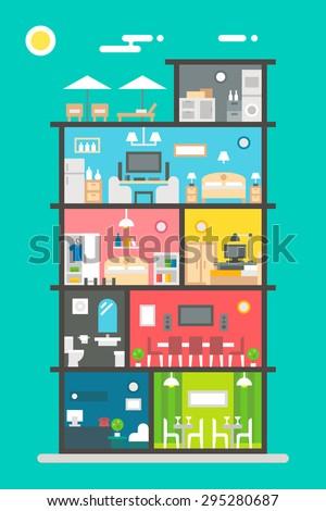 Flat design of hotel interior illustration vector - stock vector