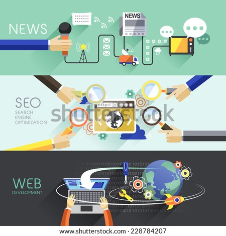 flat design of news, SEO and web concepts  - stock vector
