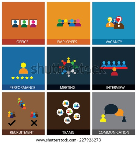 Flat design of office people vector icons showing appraisal, recruitment, interviews, meetings, conferences, training, leadership, teamwork, brainstorming, communication, network, vacancies - stock vector
