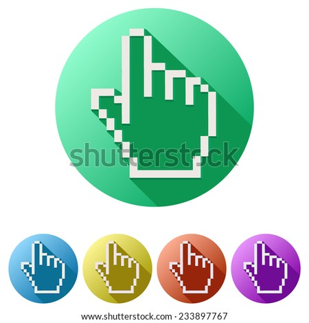 Flat design of Pixel cursor icon click mouse hand. Vector Illustration - stock vector