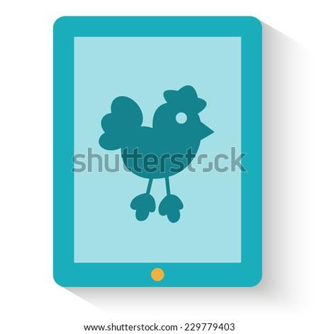 Flat design of social media web icon. Bird on tablet screen. Vector illustration - stock vector