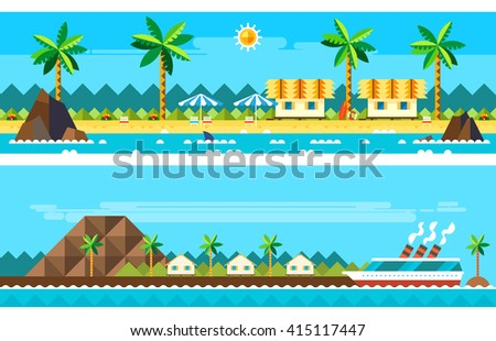 Flat design of summer paradise beach illustration vector - stock vector