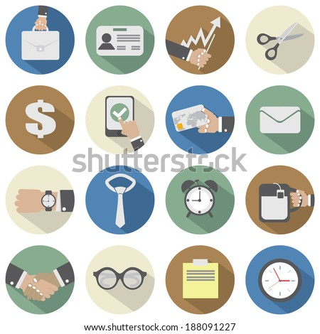 Flat Design Office Icons - stock vector