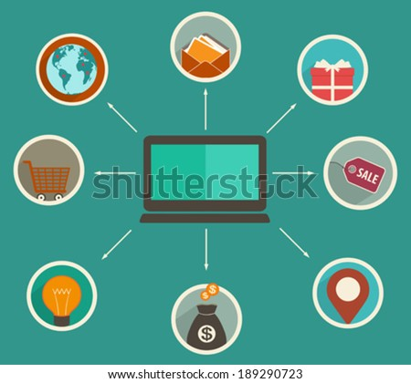 Flat design online finance app, financial analytics tracking on a digital device, online shopping, payment of goods - concept in flat style - stock vector