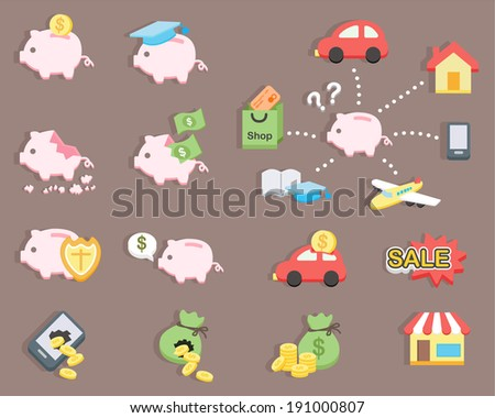 flat design - Piggy bank saving money - stock vector