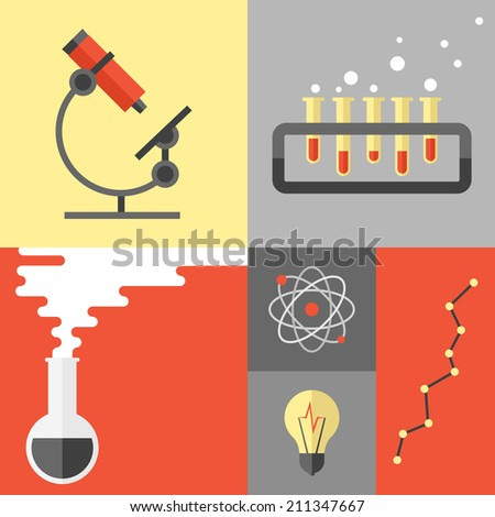 Flat design poster of science experiment and research analysis, chemistry equipment and tools, atom symbol and dna structure. Flat design style modern vector illustration isolated on color background. - stock vector