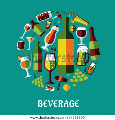 Flat design poster with  beverages, alcohol drinks, fruits, glasses and corkscrews in a circle on turquoise background for cafe and restaurant menu design - stock vector