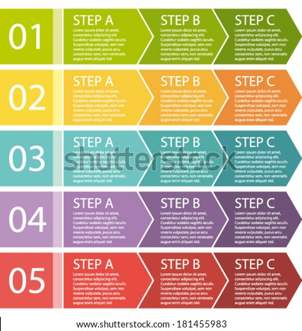 Flat design. Process arrows boxes. Step by step vector set. - stock vector