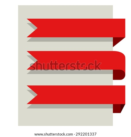Flat design red banners vector template isolated on white background. - stock vector