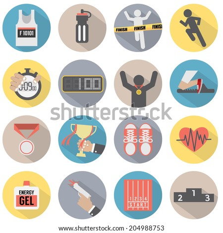 Flat Design Run Icon Set Vector Illustration - stock vector