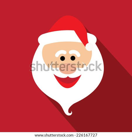 flat design santa claus face with happy and funny emotions - vector graphic design - stock vector