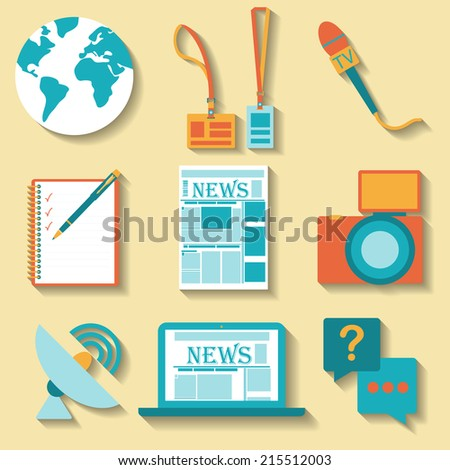 Flat design set of vector journalism icons. Symbols of mass media and journalism including computer, news, camera, accreditation, pencil and notebook. - stock vector