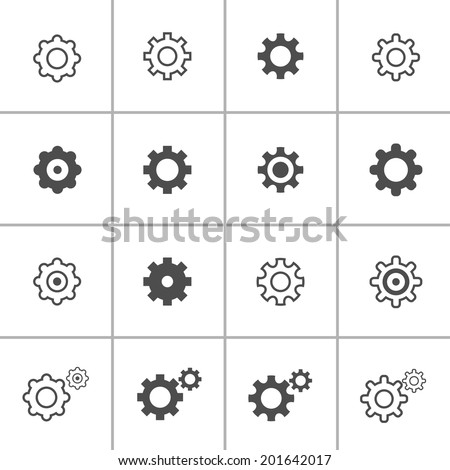 flat design setting icon set, each icon is a single object (compound path), vector eps10 - stock vector