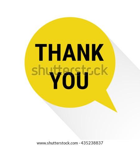 Flat Design Speech Bubble Thank You. - stock vector