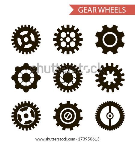 Flat Design Style Black Gear Wheels Icons Set Isolated for Web and Mobole vector - stock vector