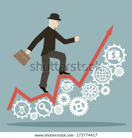flat design style businessman goes to success on infographic and gears icons vector - stock vector