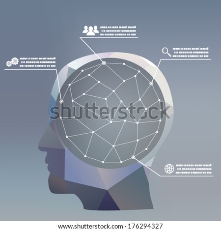 flat design style businessman headmind Social network media icon infographics concept illustration vector - stock vector