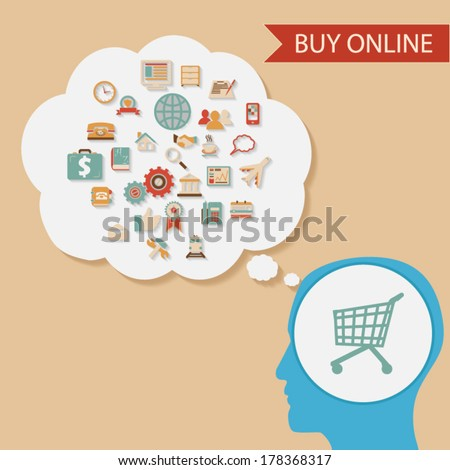 flat design style businessman holding mobile device buy online ecommerce retro colors icons concept illustration vector - stock vector