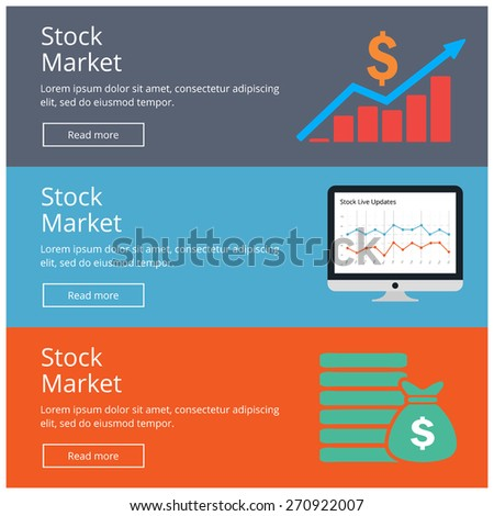Flat design style concepts for Stock Market website Banner Charts reports banner with icon set. website banner Concepts for web banners and promotional materials. - stock vector