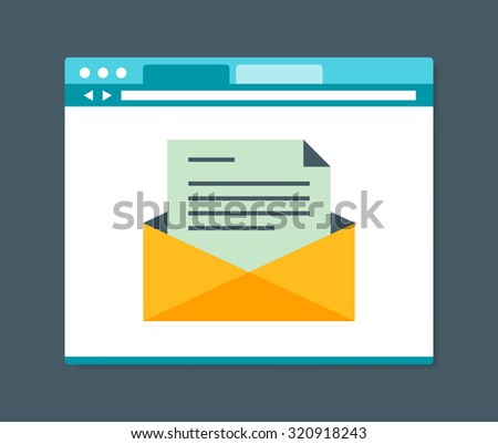 Flat design style e-mail in internet browser, vector illustration - stock vector