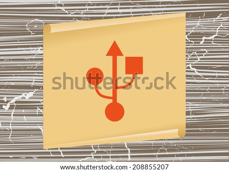 Flat design style icons on a background of the old board and scroll - stock vector