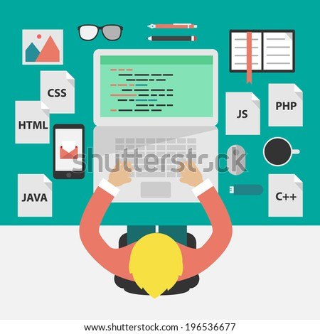 Flat design style illustration concept: coding and programming. - stock vector
