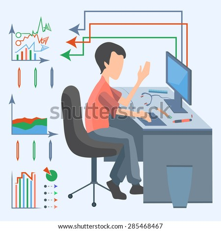 Flat design style, modern vector concept. Business man in the office sitting at the table and working on the computer. Infographics element on a white background. Vector illustration - stock vector
