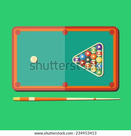 Flat design style modern vector illustration billiards ball. Isolated on stylish color background. Set elements in flat design. - stock vector