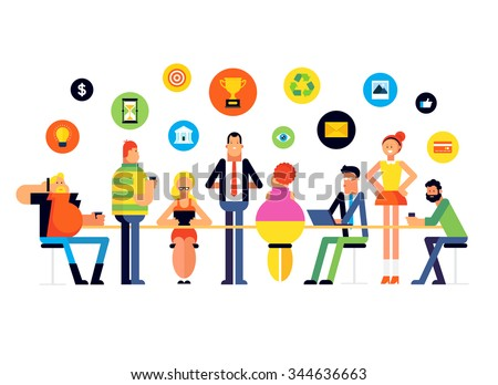 Flat design style modern vector illustration: Business Meeting and Brainstorming, Consulting, Presentation. - stock vector