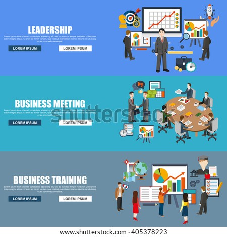 Flat design style modern vector illustration concept for corporate leadership, business meeting, management, brainstorming, planning, organization, business training for website banner. Flat icons. - stock vector