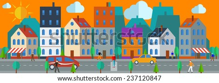 Flat design style modern vector illustration concept for web banner. City landscape at daylight - stock vector