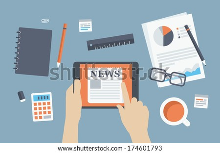 Flat design style modern vector illustration concept of business person reading latest news on digital tablet at business workplace with office items and objects. Isolated on stylish background. - stock vector