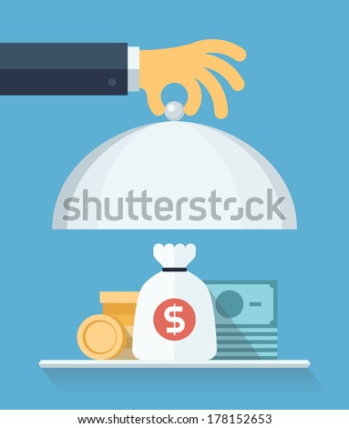 Flat design style modern vector illustration concept of businessman offering a money on the serve plate for funding a commercial project or investment in bank deposit. Isolated on the blue  background - stock vector