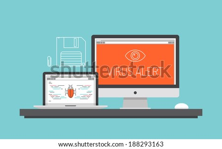 Flat design style modern vector illustration concept of computer and laptop with virus alert message, trojan and worm distribution via internet, software, equipment, antivirus and firewall protection. - stock vector