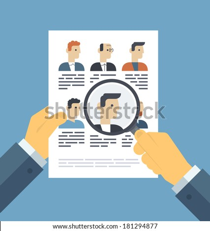 Flat design style modern vector illustration concept of human resources management, finding professional staff, head hunter job, employment issue and analyzing personnel resume. - stock vector