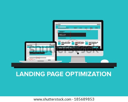 Flat design style modern vector illustration concept of landing page optimization process, optimize website for traffic growth and rank result, analyzing and improving homepage for success SEO.  - stock vector