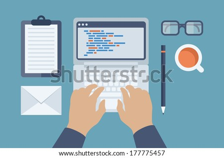 Flat design style modern vector illustration concept of programmer or coder workflow for website coding and html programming of web application. Isolated on stylish colored background. - stock vector