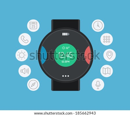 Flat design style modern vector illustration concept of smart watch gadget, personal digital device with mobile apps like phone calls, sms texting, music media player, calendar and time management.  - stock vector