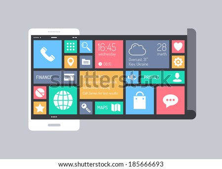 Flat design style modern vector illustration concept of stylish mobile phone with abstract square metro user interface with colorful thin line icons of business communication and web apps collection.  - stock vector