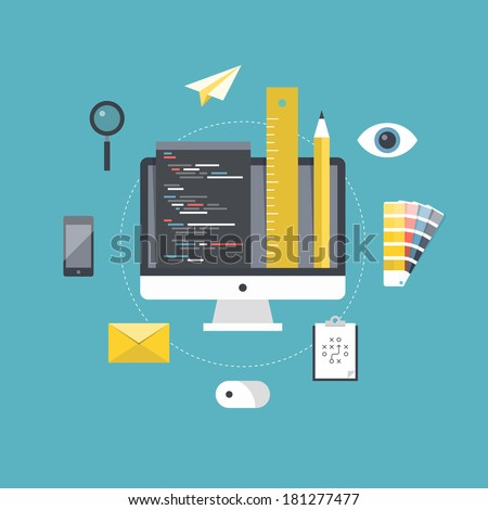 Flat design style modern vector illustration concept of web page coding and programming, website design planning and development and freelance project management. Isolated on stylish color background - stock vector