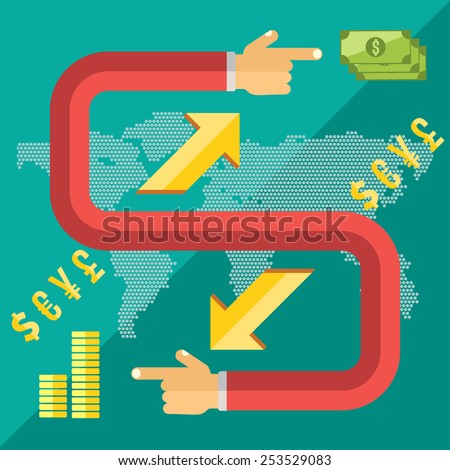 Flat design style modern vector illustration concept of world currency exchange, converting money with yen,dollar, euro, pound symbols, global trading on stock market. - stock vector