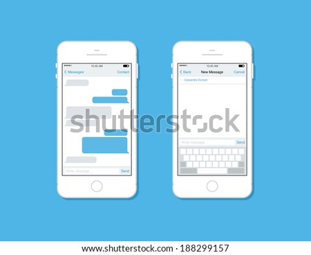 Flat design style modern vector illustration concept set of mobile phone messaging, sms communication with blank speech bubble, new mail message interface template form on smartphone.  - stock vector