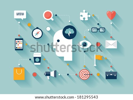 Flat design style modern vector illustration concept with icons set of creative thinking, business strategy process, brainstorming marketing ideas, daily thoughts and lifestyle routine.  - stock vector