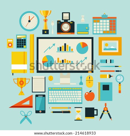 Flat design style modern vector illustration icons set of office items and tools, office various objects and equipment. Isolated on stylish color background - stock vector