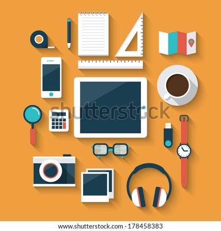 Flat design style modern vector illustration icons set of office various objects and equipment - stock vector