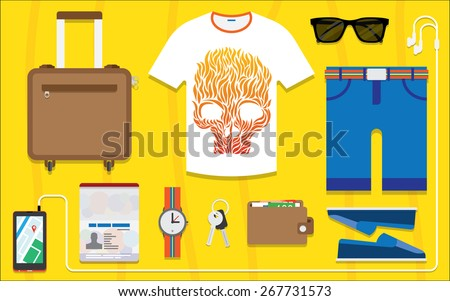Flat design style modern vector illustration icons set of planning a summer vacation, travelling on holiday journey, tourism and travel objects, passenger luggage. - stock vector