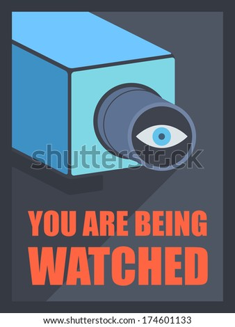 Flat design style modern vector illustration poster concept of video surveillance by the security service through CCTV camera, privacy control protection and public safety monitoring - stock vector