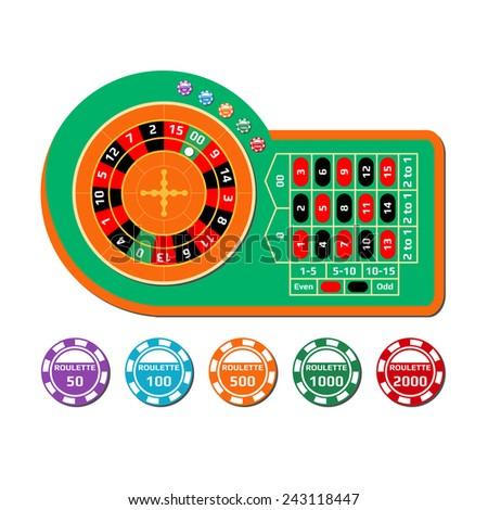 Flat design style modern vector illustration roulette table - stock vector